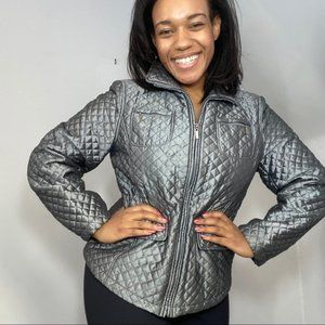 Vintage Gray Quilted Lightweight Spring Jacket
